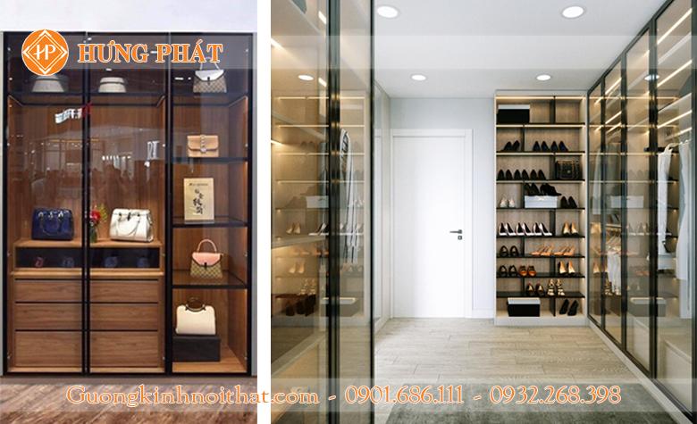 Cánh kính tủ giày dép, cánh kính tủ trưng bày